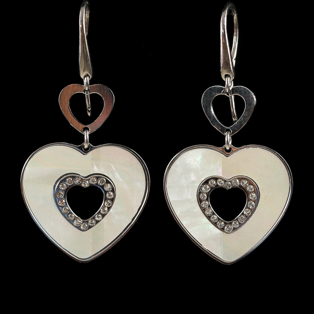 Italiaanse zilveren oorhangers met hartjes, groot en klein