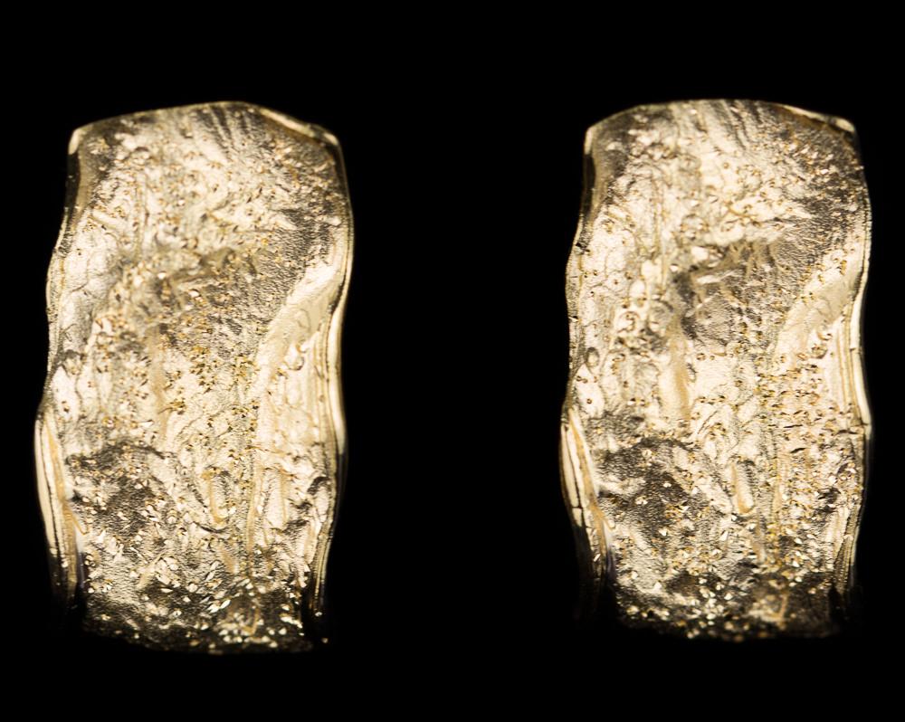 Vergulde golvende rechthoekige oorbellen met schitteringen