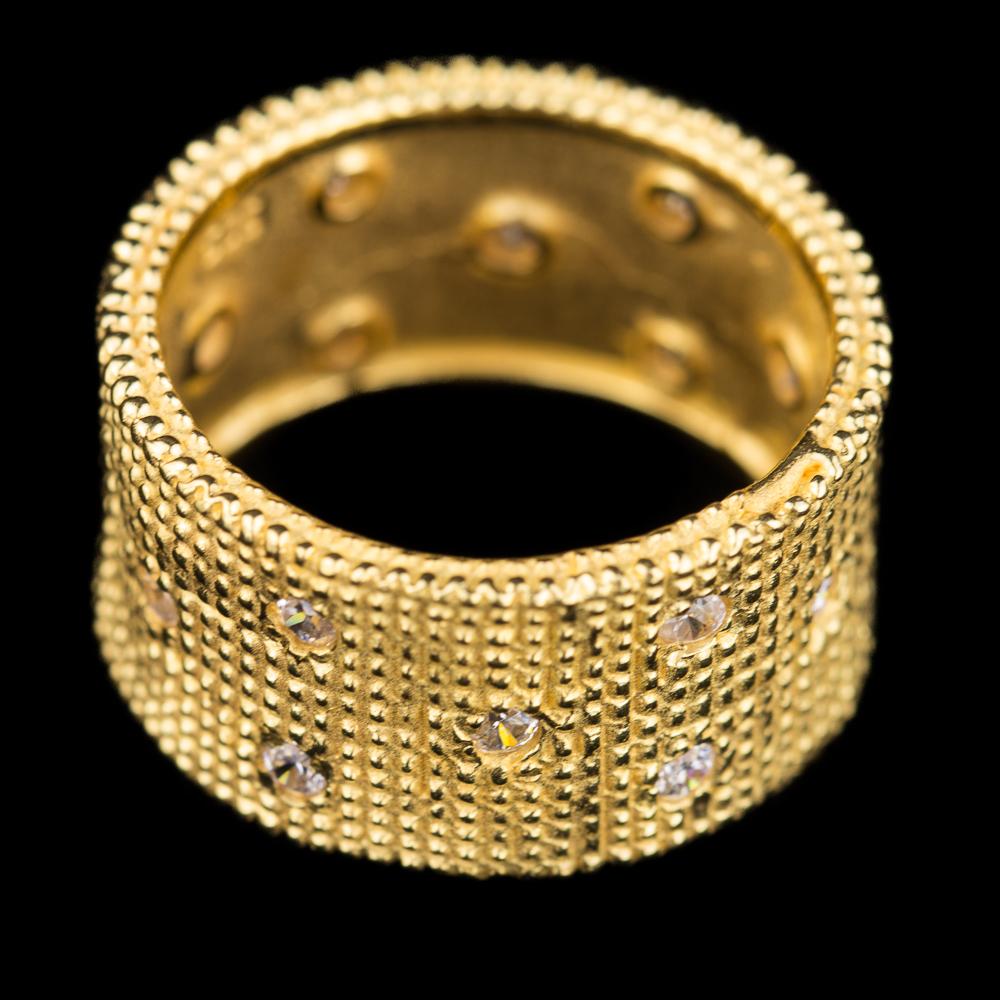 Vergulde brede ring met zirkonia