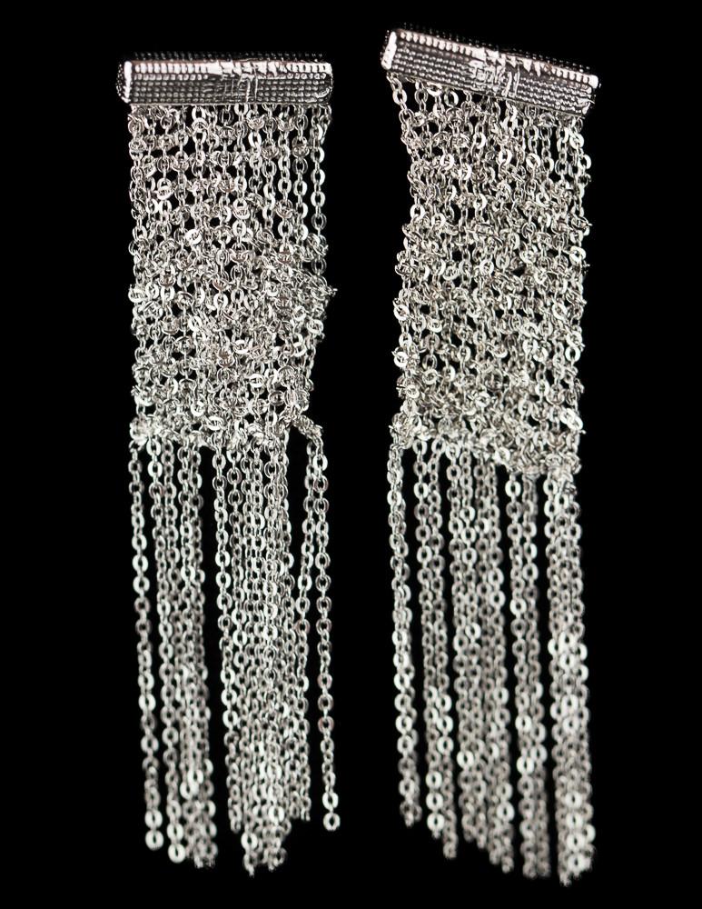 Zilveren oorbellen van meerdere kettinkjes, smalle versie