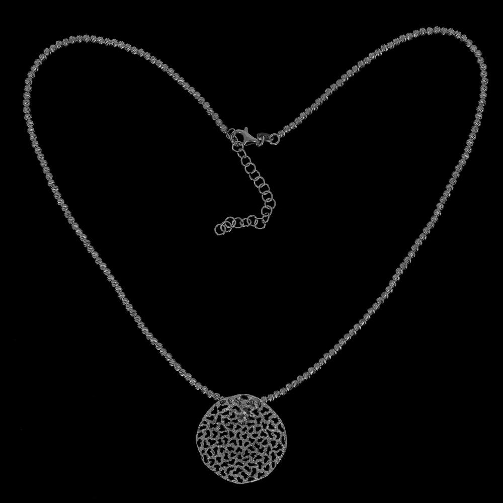 Verfijnde grijze hanger 'met ketting' van zilver