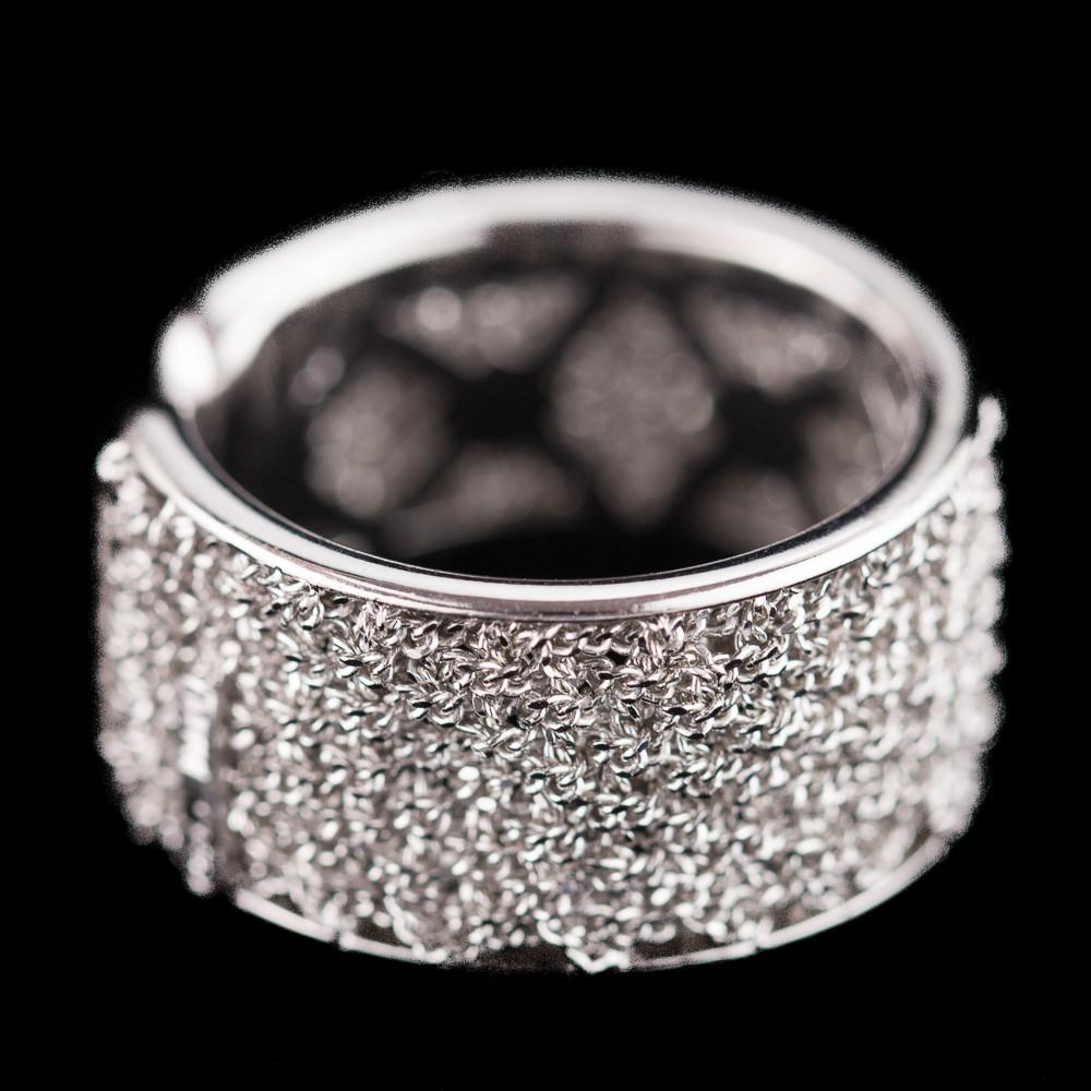 Bijzondere open ring van verweven zilver