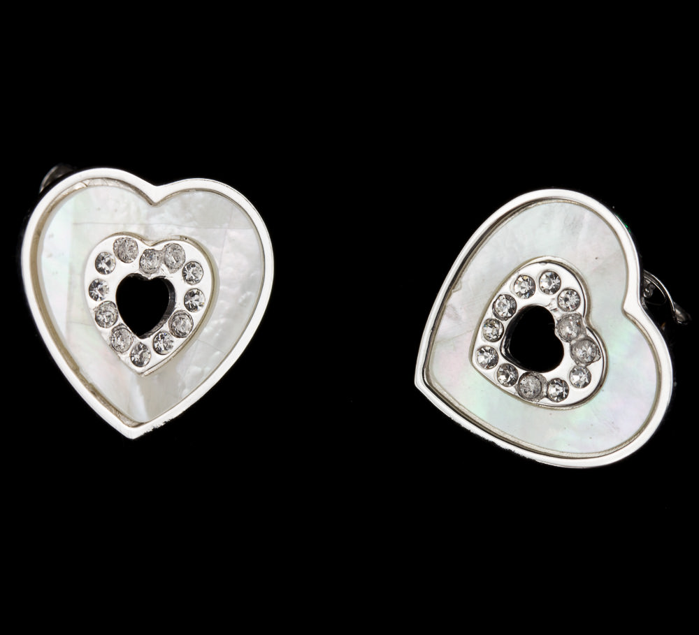 Zilveren hartjes oorbellen parelmoer en zirkonia