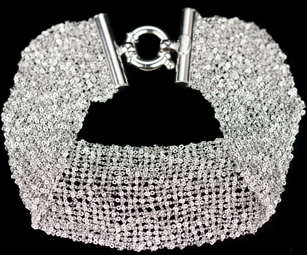 Zilveren armband van meerdere kettinkjes/brede versie