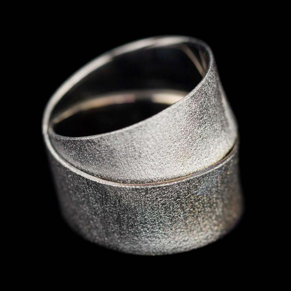 Zilveren strakke ring met 2 rijen