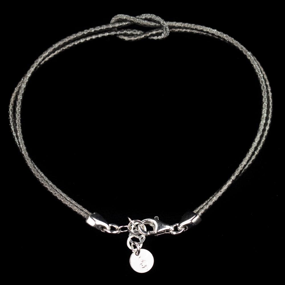 Verfijnd donkergrijs zilveren armbandje met knoop, 2mm