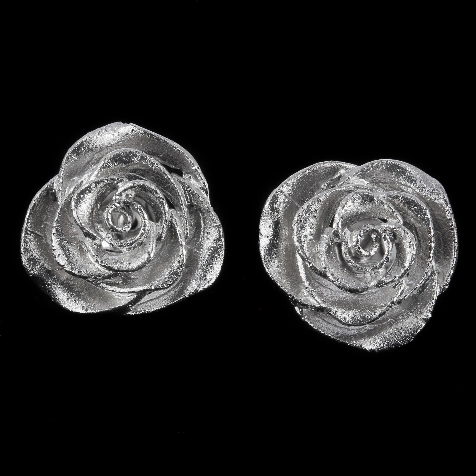 Kleine en schitterende zilveren bloemoorbellen