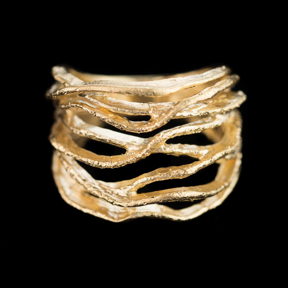 Magnifieke vergulde gediamanteerde ring van zilver