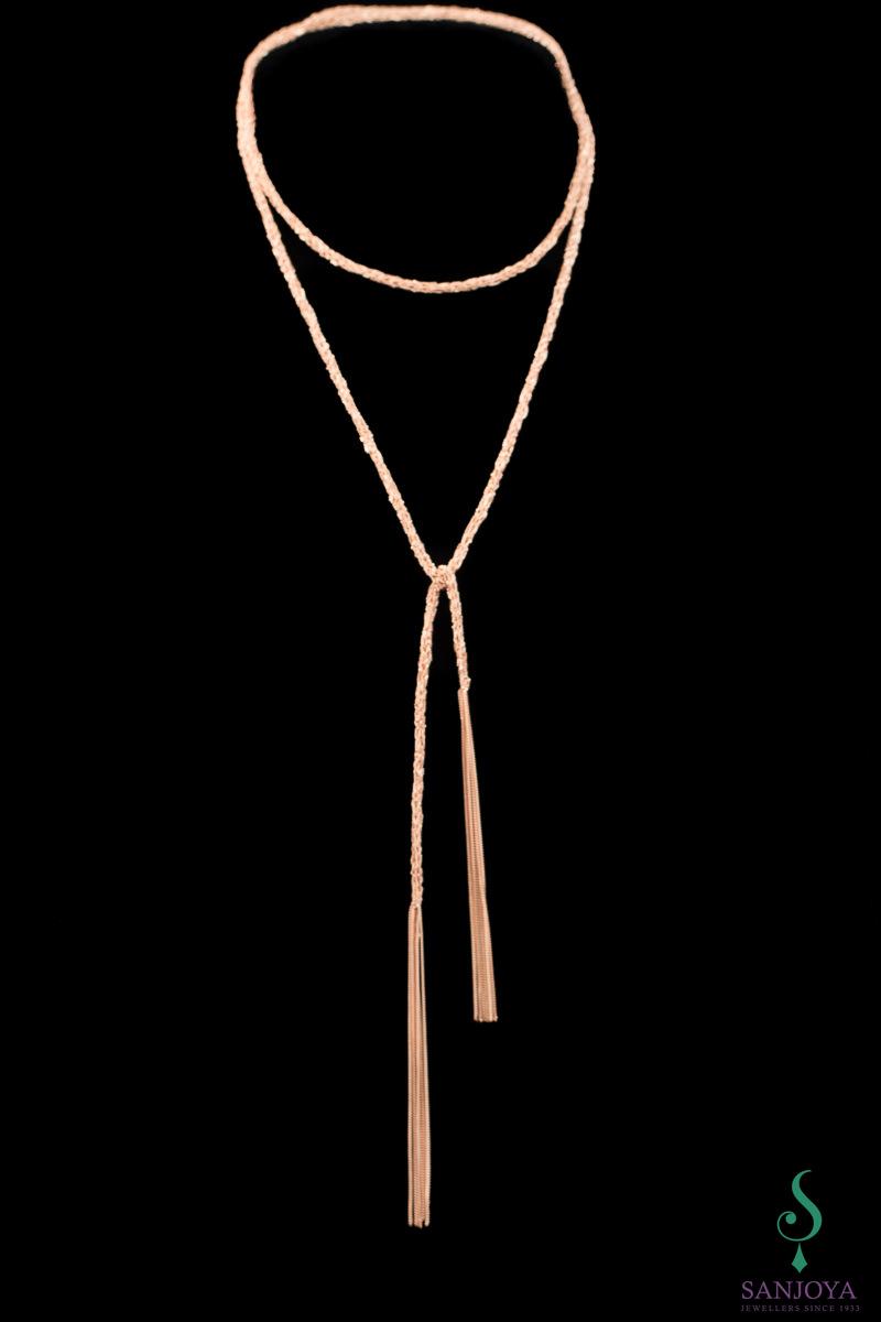 Dunne zilveren rosé sjaalketting