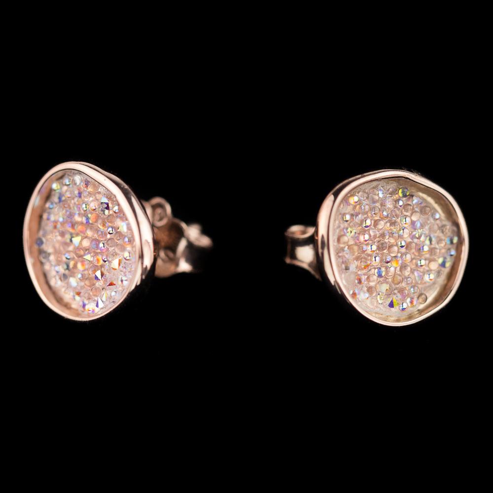 Rosé oorbellen met glinstering