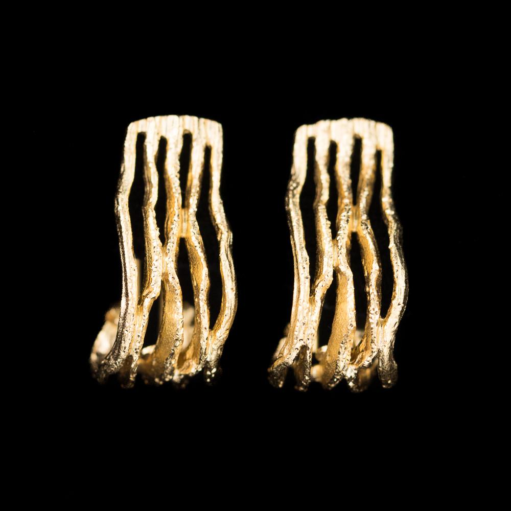 Magnifieke vergulde gediamanteerde oorbellen van zilver