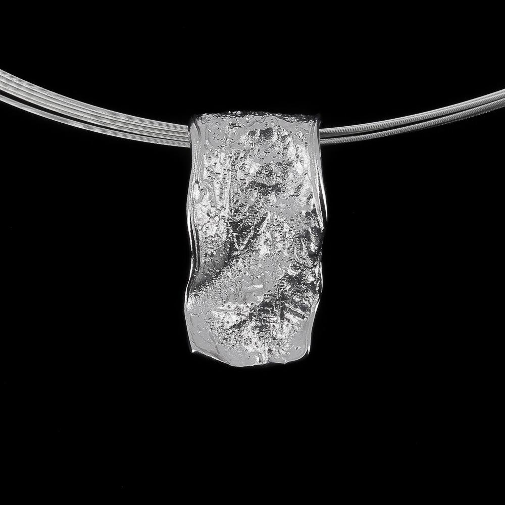 Zilveren rechthoekige glinsterende hanger