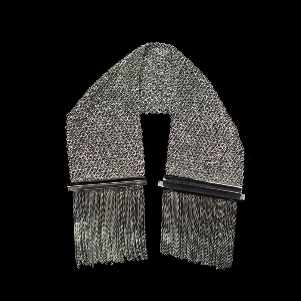 Zwart en afhangend zilveren verweven pols sjaaltje