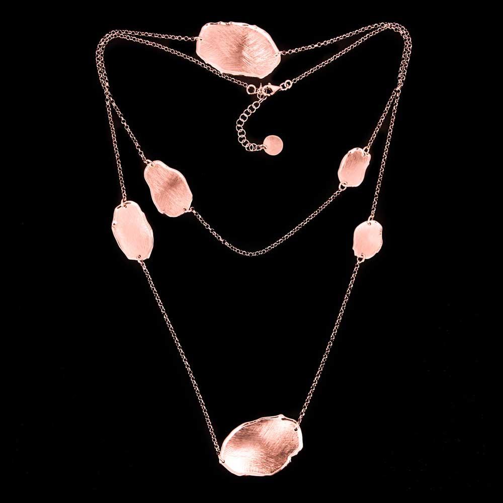 Lange rosé ketting met ongehamerde ovale schakels
