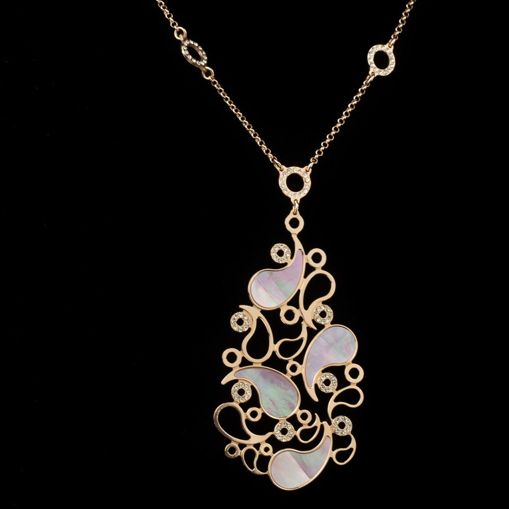 Italiaanse zilveren collier met paarse parelmoeren hanger
