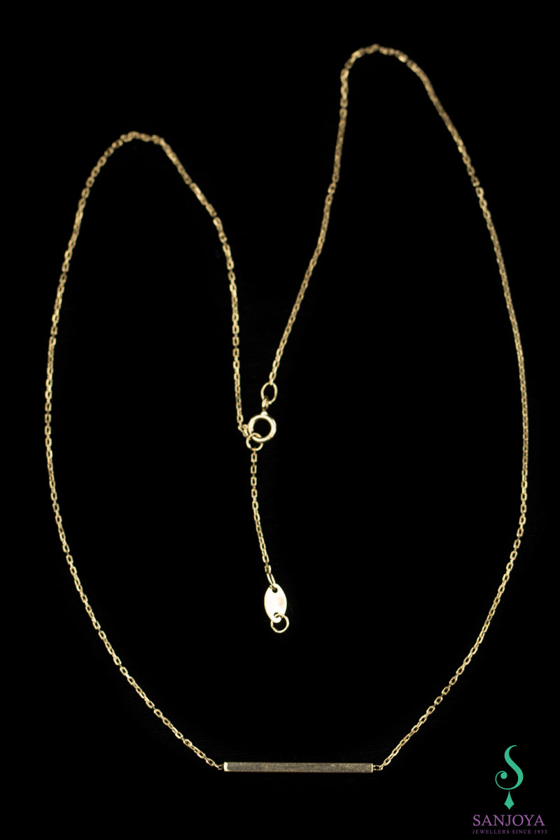 Gouden ketting met fijn staafje als hanger, 18Kt