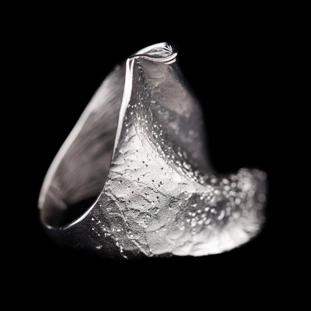 Brede chique zilveren ring, mat, gepolijst en gediamanteerd