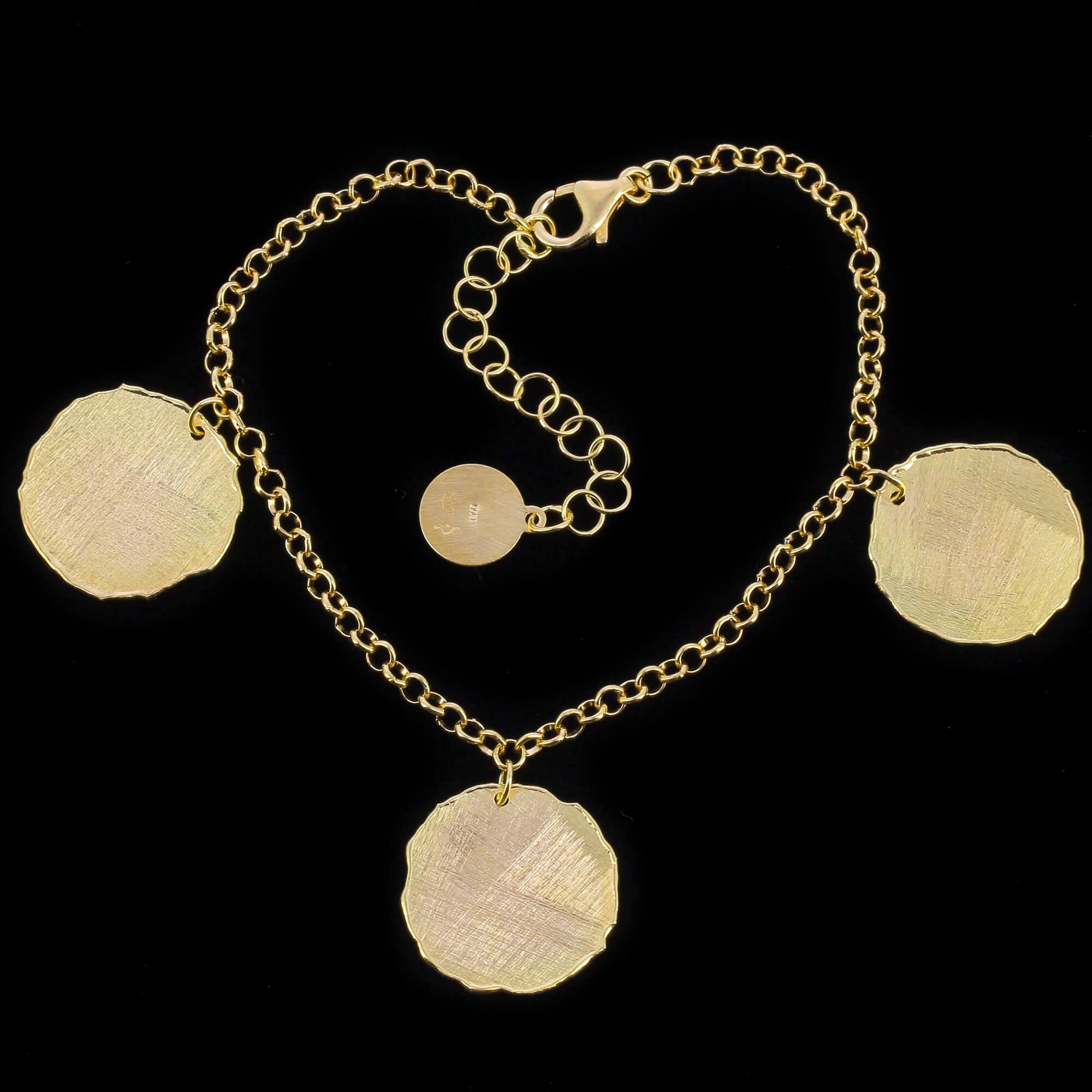 Gouden schakelarmband met ronde hangers,18kt