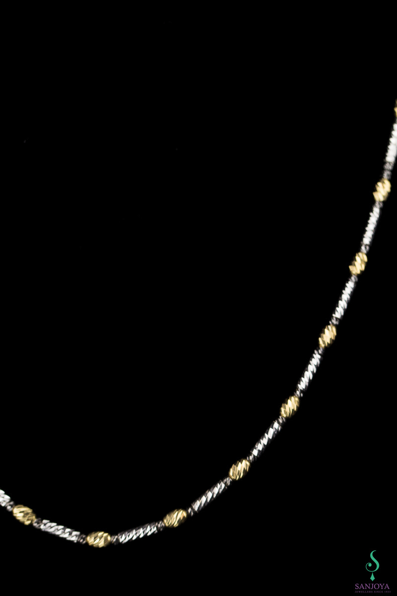 Italiaanse ketting sterling zilver, verguld en zwart