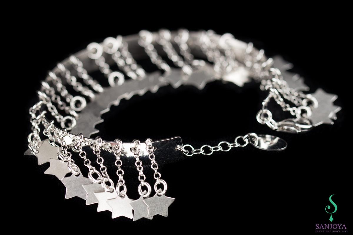 Zilveren slavenarmband met sterretjes