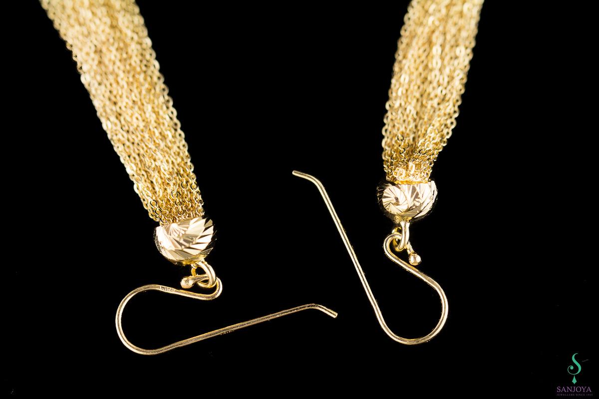 Vergulde oorbellen van zilver met slierten
