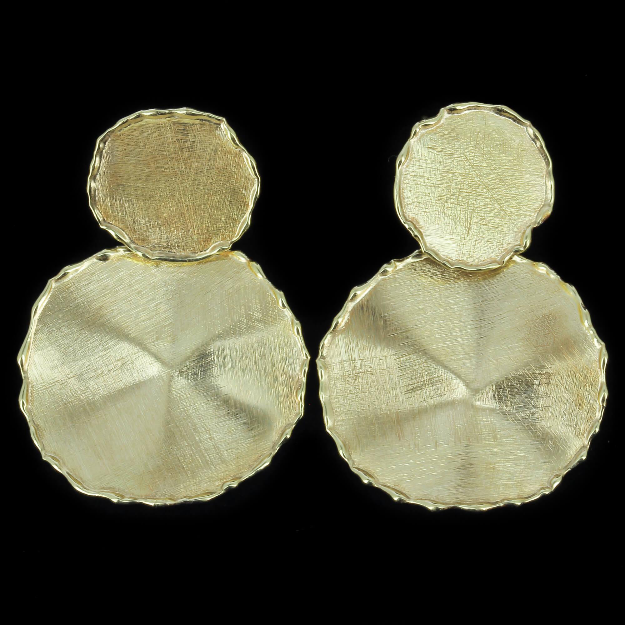 Gouden ronde en ongehamerde oorbellen,18kt