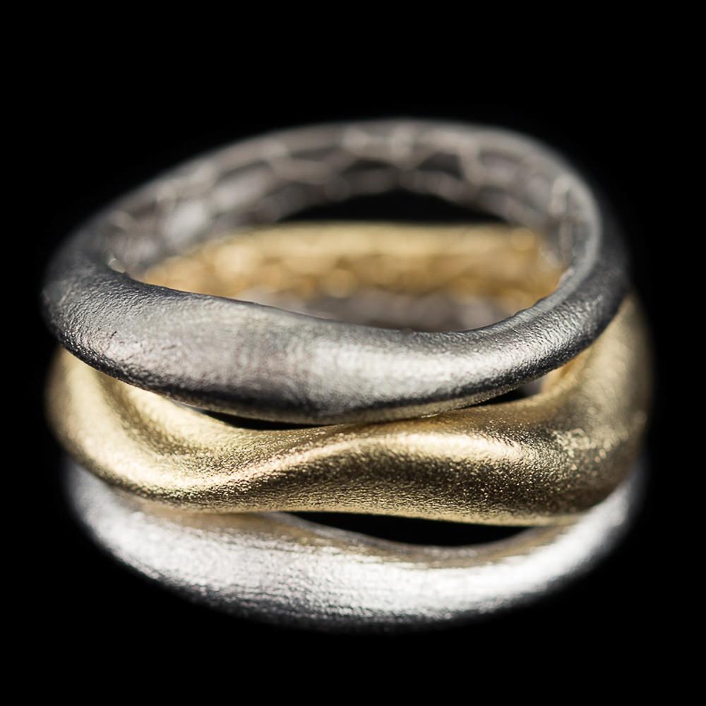 Bijzondere driekleurige gematteerde zilveren ring