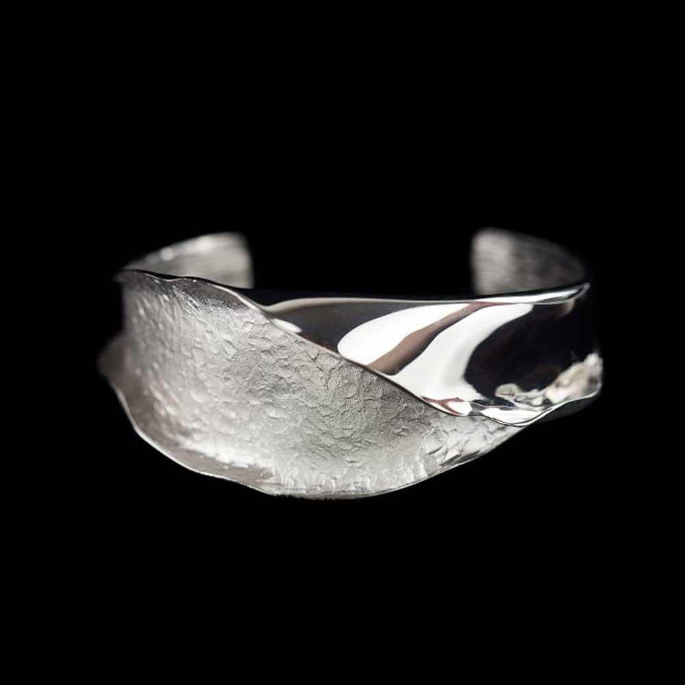 Zilveren slavenarmband mat en gepolijst 'brede versie'