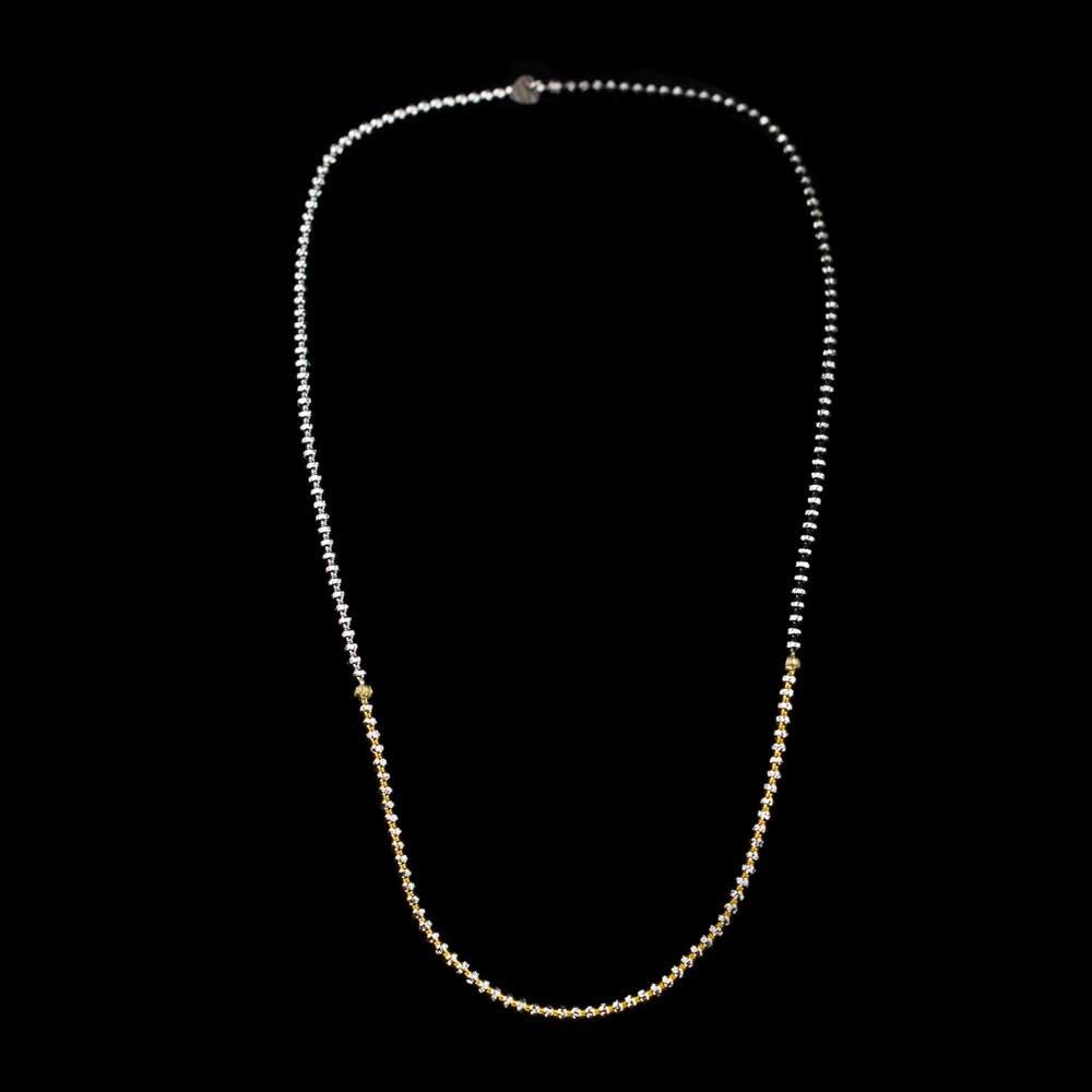 Elastische 3 kleurige kettingarmband van sterling zilver