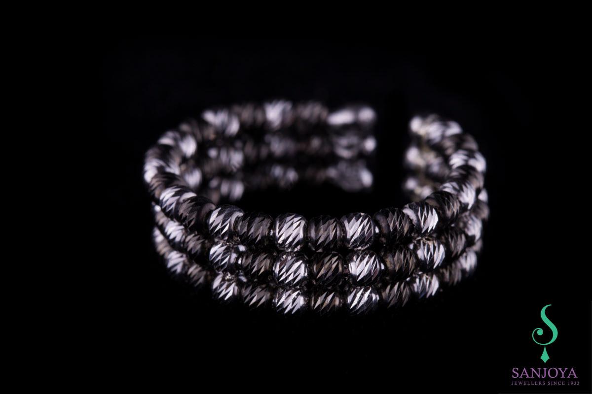 Italiaanse tweekleurige zilveren ring, 3 rijen