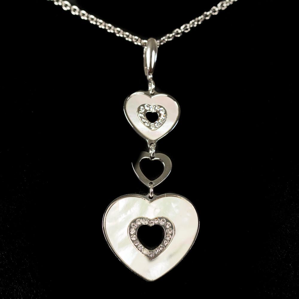 Italiaanse zilveren schakelketting, hanger van hartjes