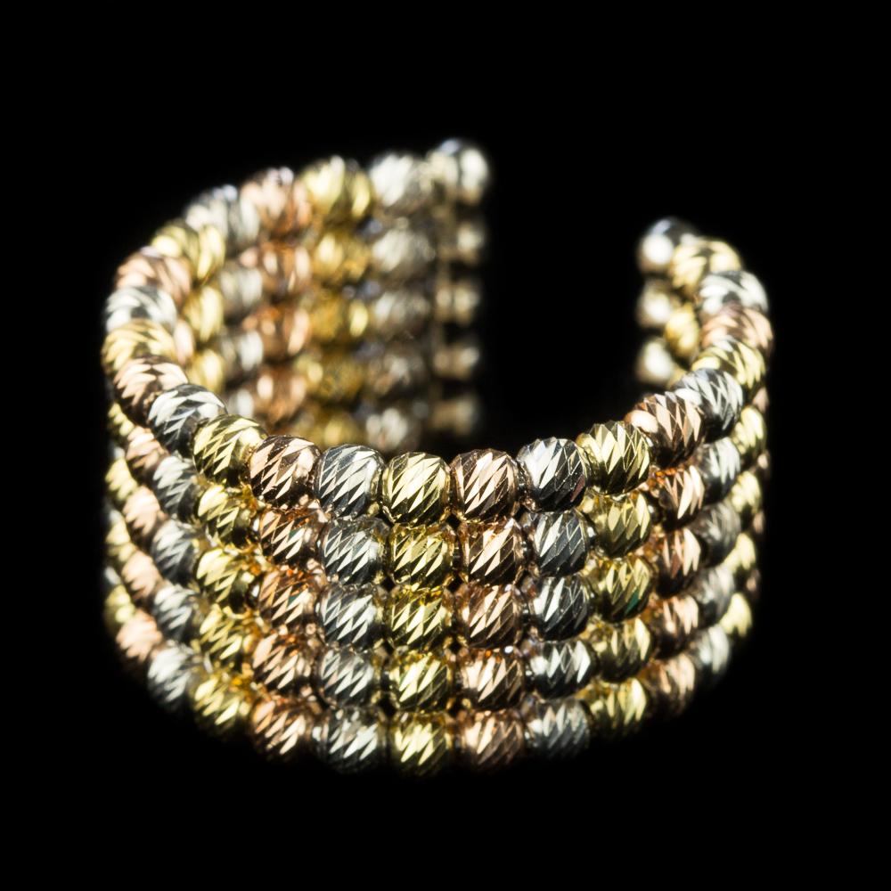 Aansprekende Italiaanse ring, 5 rijen driekleurig