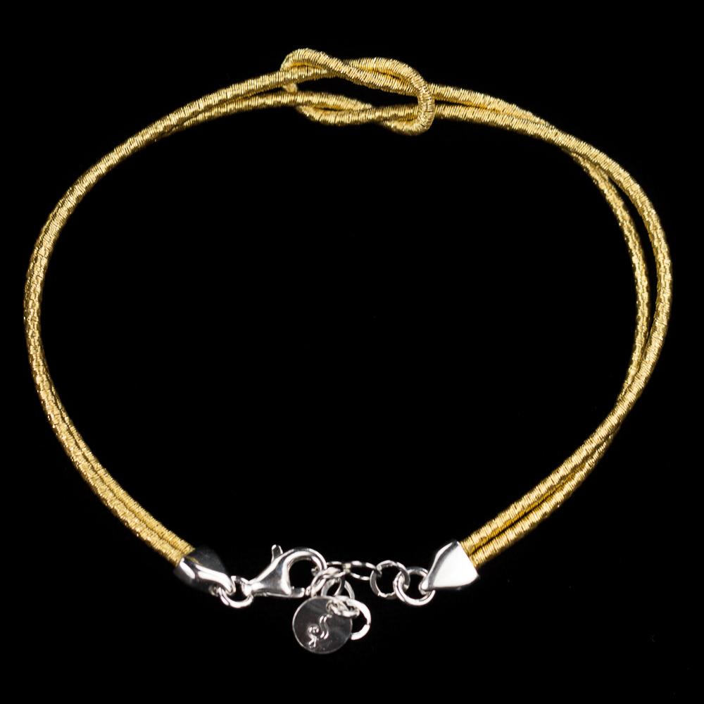 Verfijnd verguld armbandje met knoop, 2mm