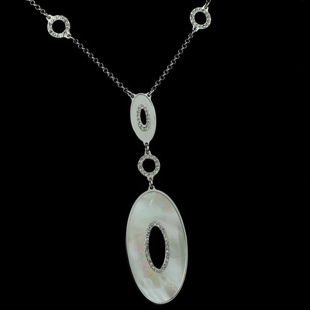Italiaanse zilveren halsketting met ovalen hangertjes