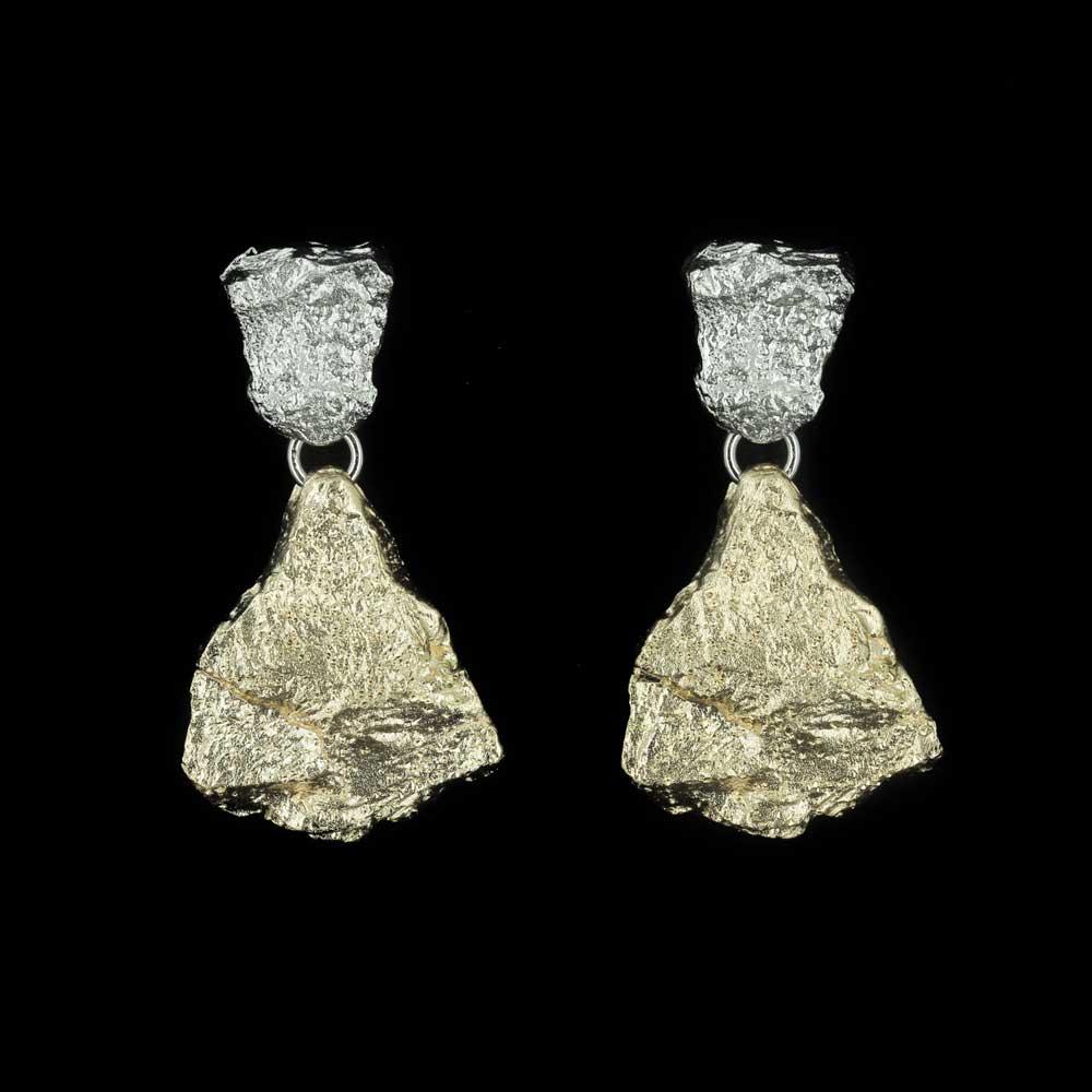 Zilver en goud steenvormige tweekleurige oorbellen