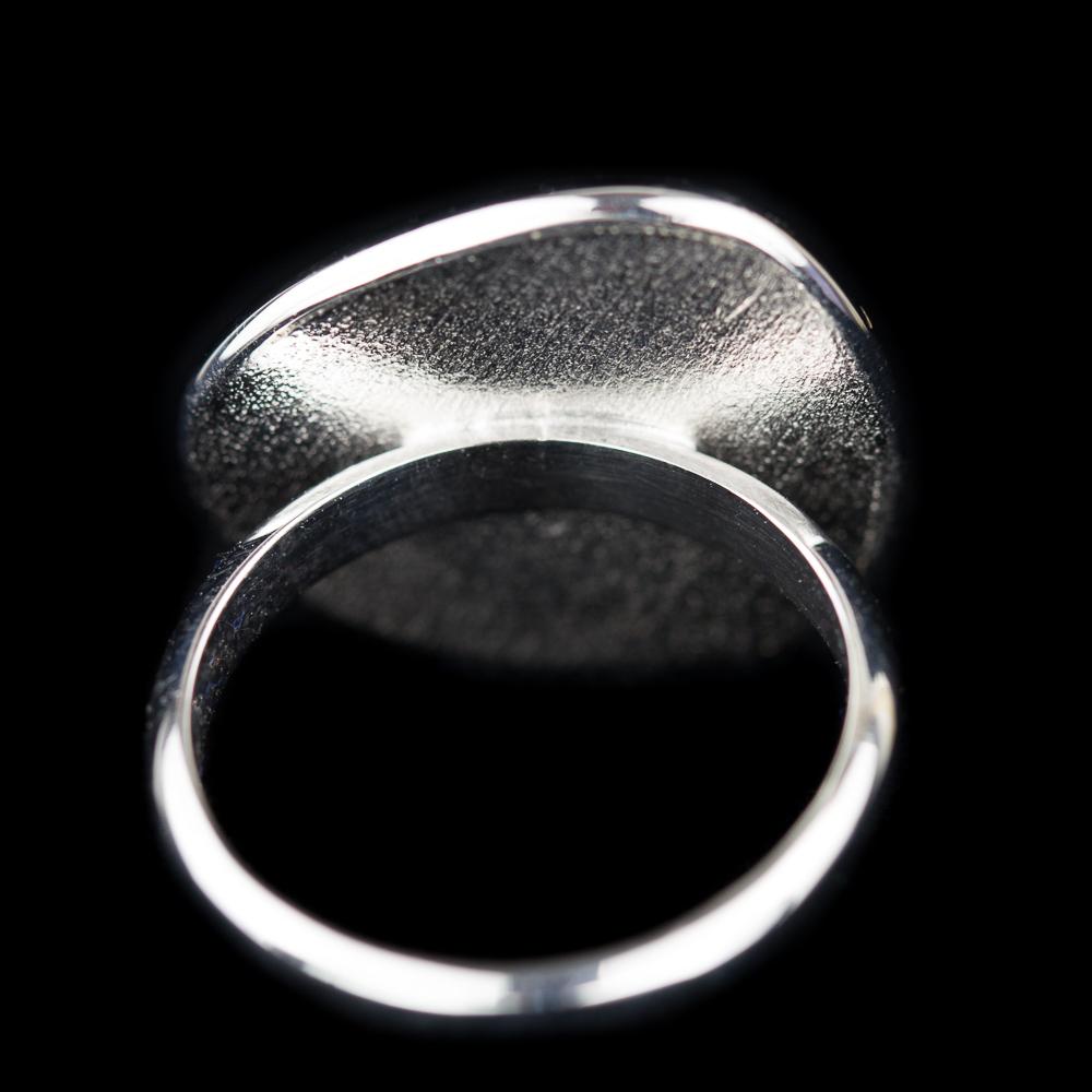 Zilveren ring met hematiet/ kleine versie