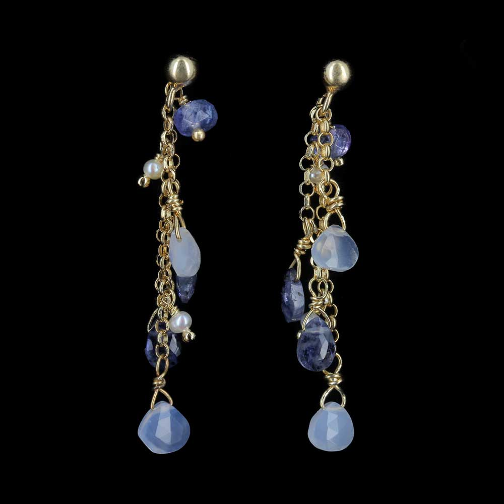 Lange vergulde zilveren oorbellen met kleurstenen en parels