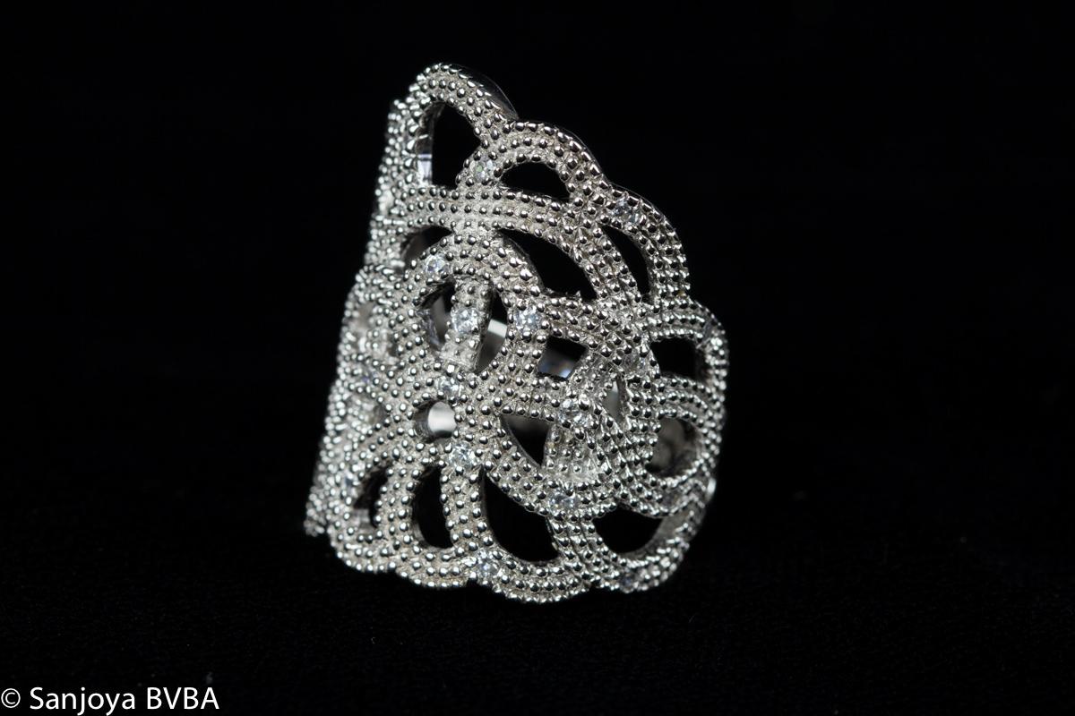 Grieks open bewerkte zilveren ring, Grieks design