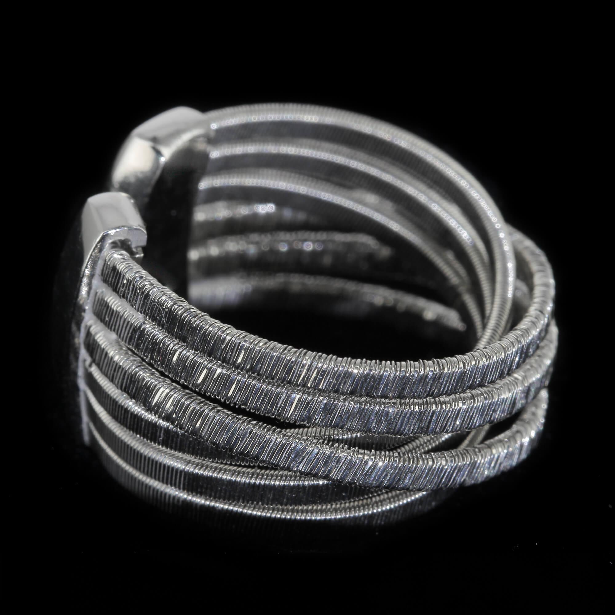 Zilveren meerdradige open ring