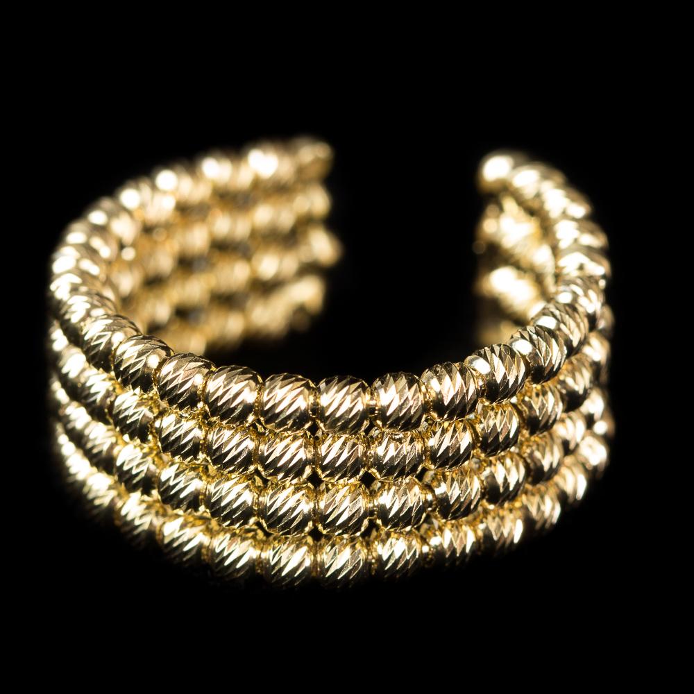 Italiaanse vergulde ring met 4 rijen