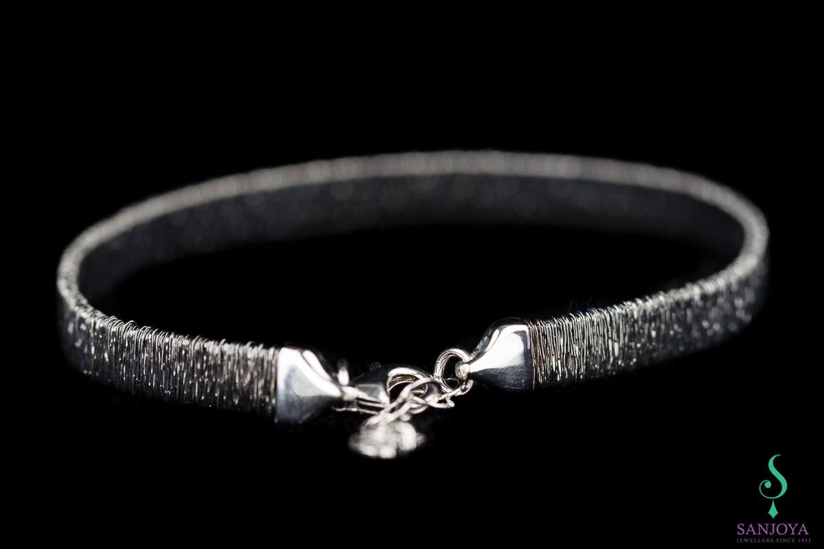 Verfijnde grijze armband van sterling zilver, 6mm