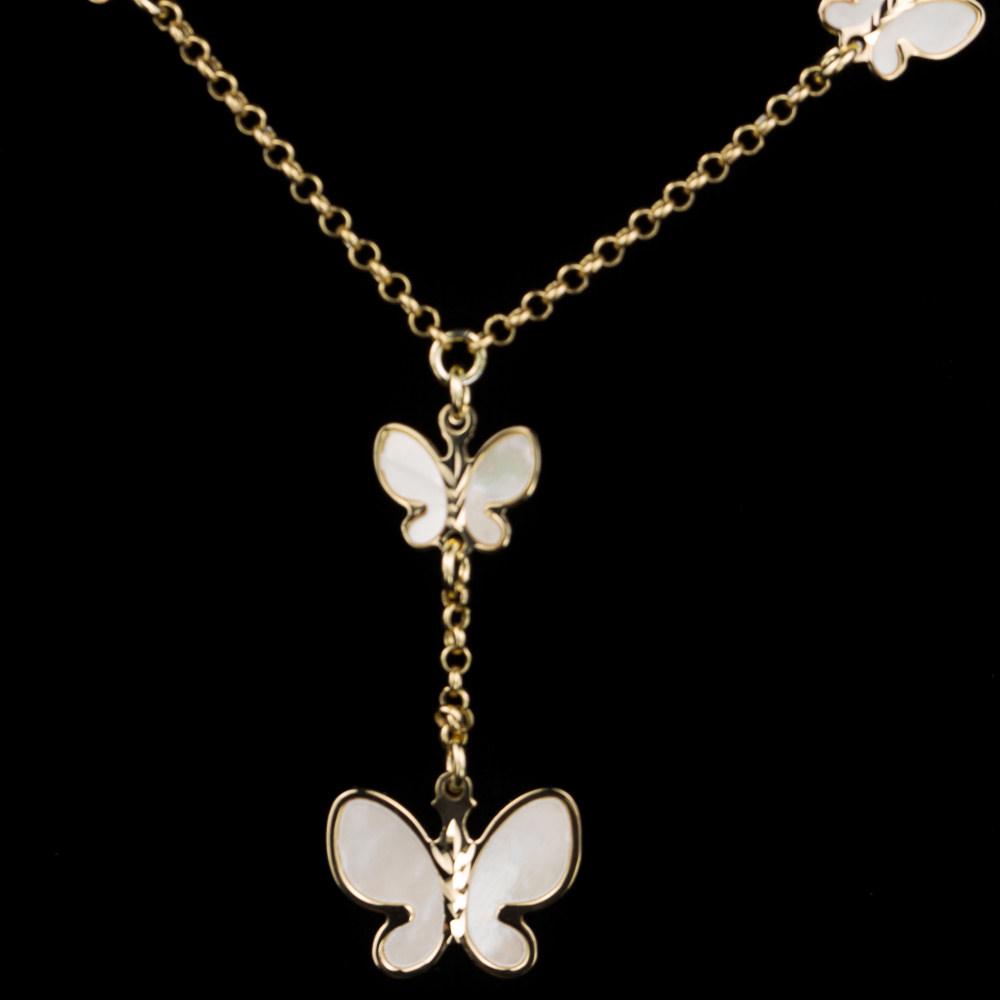 Vergulde ketting met vlindertjes van parelmoer