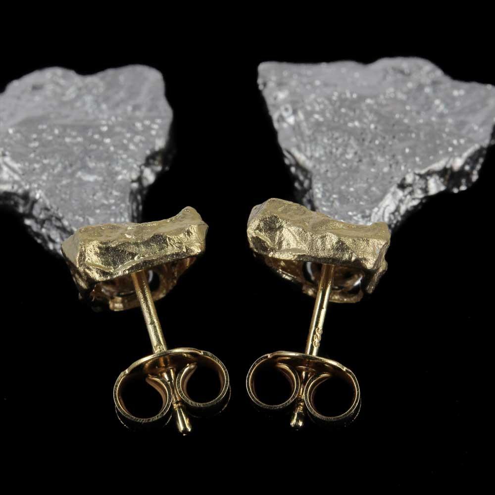Zilver vergulde tweekleurige steenvormige oorbellen
