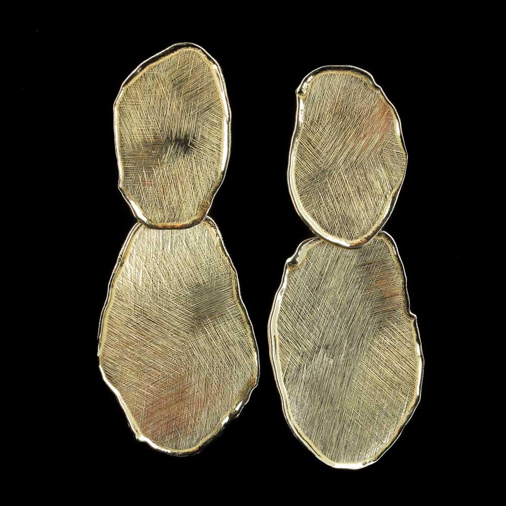 Vergulde en ongehamerde ovalen oorbellen